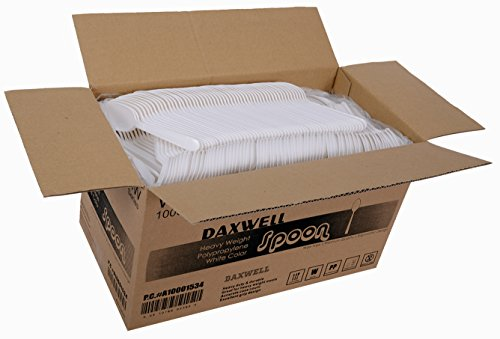 """Daxwell A10001534 Plastic Cutlery, Heavy Weight Polypropylene (PP) Teaspoons, White, 6"""" (Case of 1,000)"""