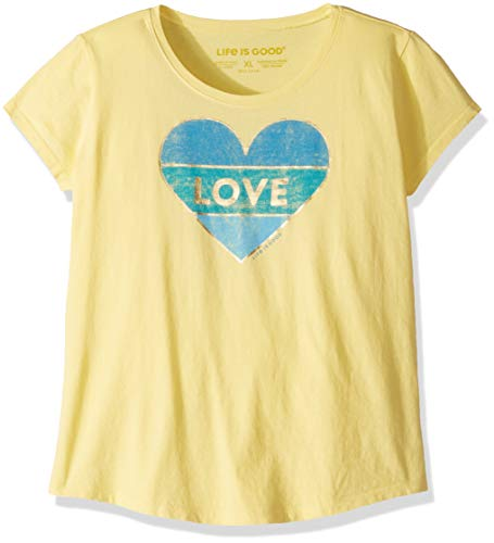 (Life is Good Girls Smiling Smooth Tee Heart, Happy Yellow, X-Large)