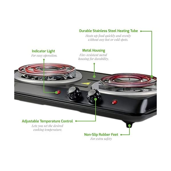 Ovente 5.7 & 6 Inch Double Hot Plate Electric Coil Stove, Portable 1700 Watt Cooktop Countertop Kitchen Burner with… 2