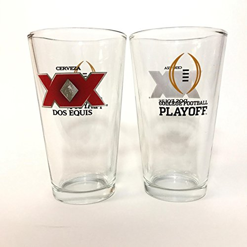 Dos Equis Cerveza - College Football - 16 Ounce Pint Glass - Set of 2