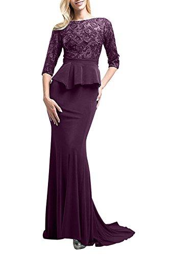 Spitze Satin Abendkleider Traube Festlichkleider Langes Figurbetont Brautmutterkleider mia aus Meerjungfrau Braut La nqO6pYw