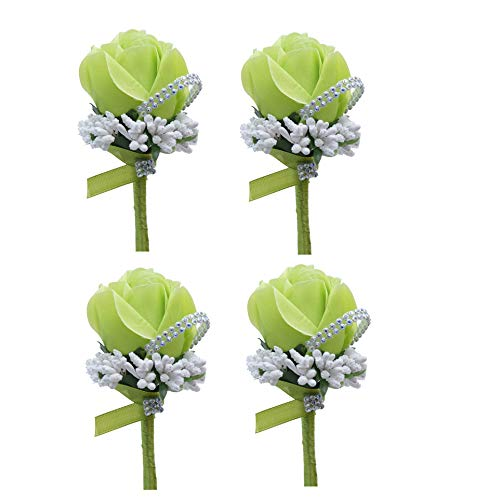 MOJUN Groom Groomsman Rose Boutonniere Buttonholes Corsage Rose Flowers Brooch for Wedding Prom Party, Pack of 4, Green