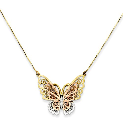 14k Yellow Rose Gold Butterfly Chain Necklace Pendant Charm Animals/insect Fine Jewelry Gifts For Women For Her ()