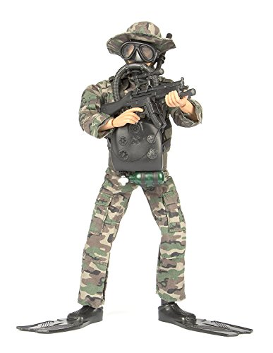 Army Men by World Peacekeepers Action Figures: 30-Pt. Full-Motion 12-Inch Army Toys w/ Ninja Grip, MP5 Military Rifle, SCUBA Gear & Flippers (Navy SEALs Frogman)