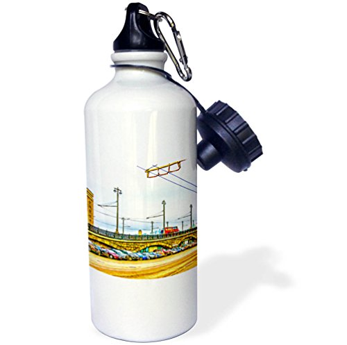 3Drose Alexis Photo Art   Moscow City   Line Of Cars By Moscow Large Stone Bridge  Digital Painting   21 Oz Sports Water Bottle  Wb 272242 1