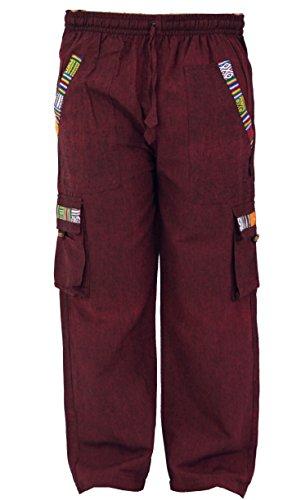 Guru Yoga shop Stile Di Goa Etnico Vino Pantaloni Da In Dicotone Uomo Br1qxtBd