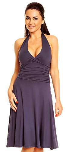 [Zeta Ville - Women's Ruched Waist Flattering Sleeveless Halterneck Dress - 145z5 (Blue Grey, US 12, XL)] (Halter Jersey Tie)