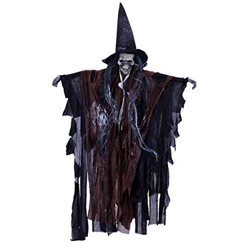 LegendTech 23In Halloween Ghost Skeeleton Props Terrorist Toy Hanging Grim Reaper Skull Horrible Sound with Red Light Halloween Trick -