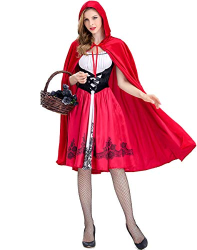 Women's Little Red Riding Hood Halloween Costume with Cape Knee Length Cosplay Party Dress 2 Pcs,Red (S) -