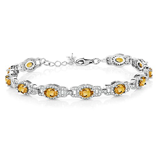 Gem Stone King 8.00 Ct Oval Yellow Citrine 925 Sterling Silver 7 Inch Bracelet With 1 Inch Extender