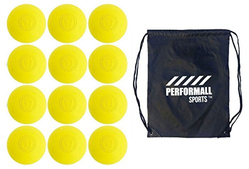 Signature Lacrosse Bundle (12-Ball) Lacrosse Balls Yellow NOCSAE & SEI Approved with 1 Performall Sports Drawstring Bag Yellow-12P