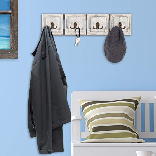 "Rustic Wall Mounted Coat Rack with 4 double hanging hooks 24/""x6/"""