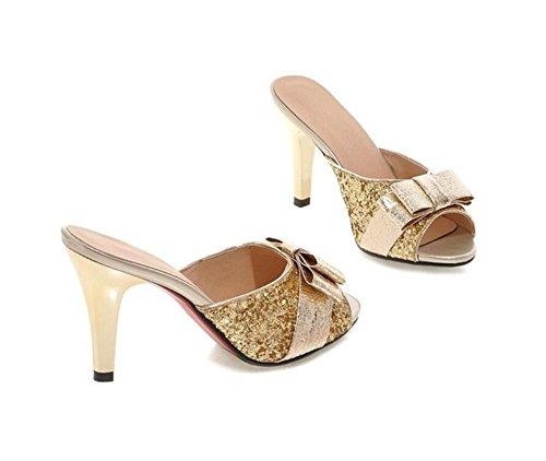 Con De Nudo 5cm 41 37 Sandalias Alto 36 Mujer 33 mariposa calzado Para Pescado 8 Verano Gold tacón Gold Lentejuelas Xie 0B1Sq1