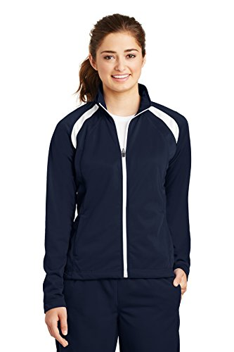 - Sport-Tek Ladies Tricot Track Jacket. LST90, True Navy/White, XXL