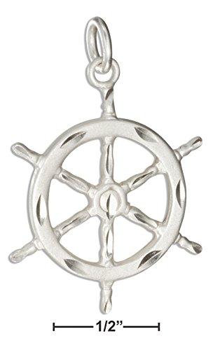- Sterling Silver Diamond Cut Ships Wheel Charm