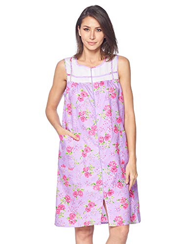 Dress House Sleeveless Womens - Casual Nights Women's Zipper Front House Dress Duster Sleeveless Housecoat Lounger Robe, Floral Lilac Purple, Large