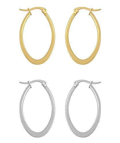 Edforce Women's Stainless Steel Long Oval Hoop Earrings Set of 2, (30mm) (Oval Long Ring)