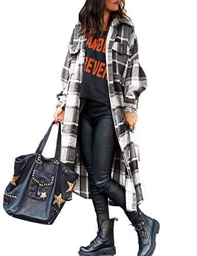 Uaneo Womens Casual Plaid Button Down Long Puff