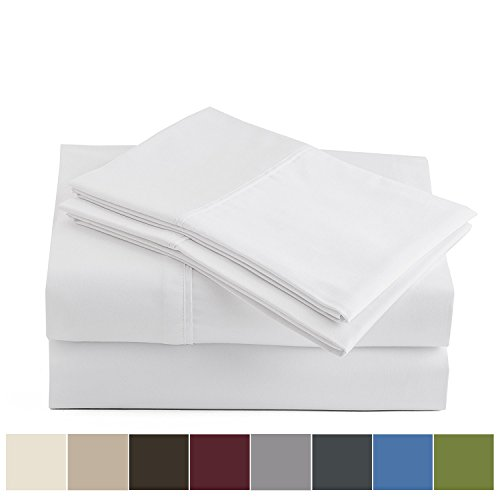 Peru Pima Luxury 600-Thread-Count Sateen Peruvian Pima Cotton Queen Bed Sheet Set, White -