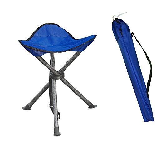 Portable Folding Tripod Stool Silver Flower Coated Slack Chair Lightweight Heavy Duty...