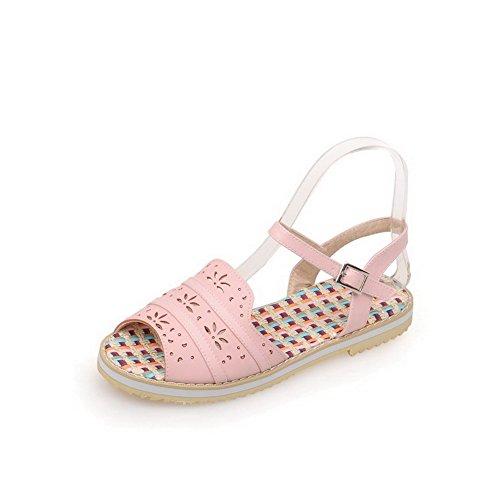 AllhqFashion Hebilla Puntera Abierta Mini Tacón Sólido Sandalias de vestir Rosa