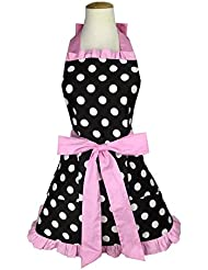 KUFEIUP Bowknot with 2 Pockets Retro Vintage 1950s Polka Dot Kitchen Aprons For Women
