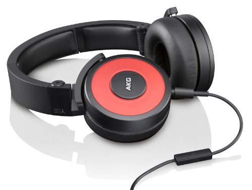 AKG Y55 Red DJ-Ready Headphones with Enriched Bass, Snug Fit and In-Line Remote/Microphone with Volume Control, Red