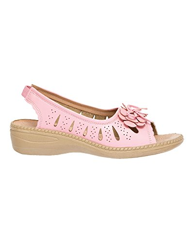 Cotton Traders Womens Flexisole Bow Trim Sandal Flexisole Bow Trim Sandal Size 4 Pink