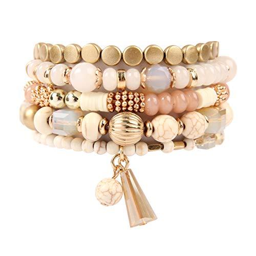 Set Bracelet Bead Stretch (RIAH FASHION Bead Multi Layer Versatile Statement Bracelets - Stackable Beaded Strand Stretch Bangles Sparkly Crystal, Tassel Charm (Bohemian Mix - Natural))