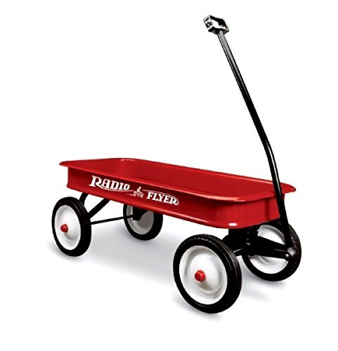 New Classic Full Size Vintage Red Wagon Children Toddlers-With 10-Inch Steel Wheels- Every Child's Dream Toy- All Steel Seamless Body Extra Durable Strong Safe- Extra Long Handle Tight Turning Radius