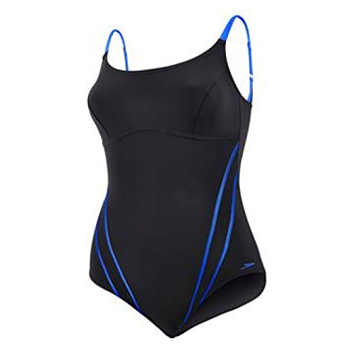 SPEEDO Sculpture Clearglow One Piece Ladies Swimsuit, Black/Blue, 44in