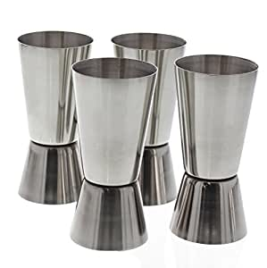 4 Cocktail Jigger - Steel 4 Pack Set Shot Glass Cup for Drink Mixing Bartending
