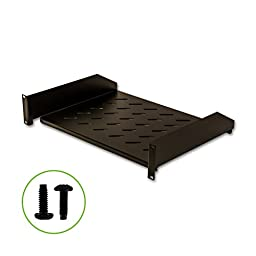 Navepoint 2U 19-Inch Universal Vented Rack Mount Cantilever Server Cabinet Shelf 14-Inches Deep Black