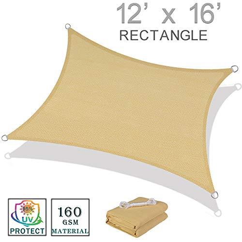 SUNNY GUARD 12' x 16' Sand Rectangle Sun Shade Sail UV Block for Outdoor Patio Garden