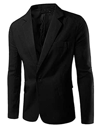 Pishon Men's Slim Fit Blazer Jacket Solid Cotton Casual One Button Sport Coats, Black, Tag Size L=US Size S