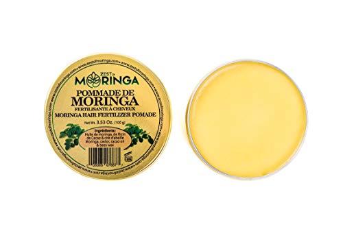 Moringa Hair Pomade- Super Hair Fertilizer - Strengthening Hair, Nourishing Scalp - Fertilizing Damaged Hair - Blend Of Moringa Oil + Cacao Oil + Castor Oil + Beeswax