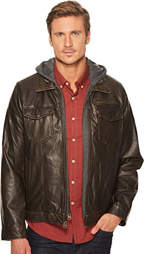 Levi's Men's Faux Leather Trucker With Jersey Hood and Fleece Lining Dark Brown X-Large