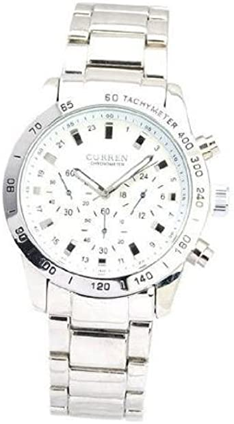 Curren 8017 preciso Reloj de cuarzo con esfera redondo/Wristband/tacómetro/Tira la escalera – White Steel – Appena sube.: Amazon.es: Relojes