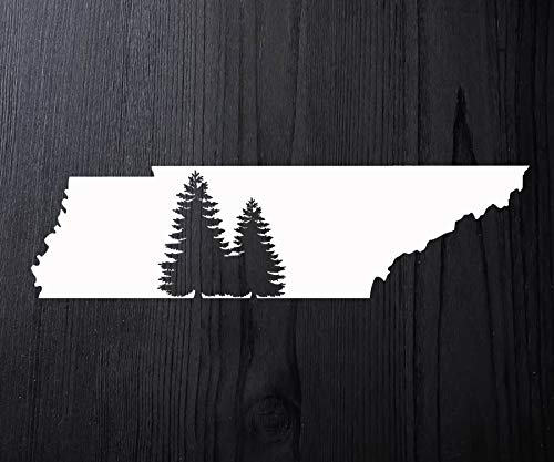 - Tennessee Decal with Pine Trees Vinyl Window Sticker Laptop Sticker Rustic State Decal for Car - Choose Size & Color (Vinyl Sticker)