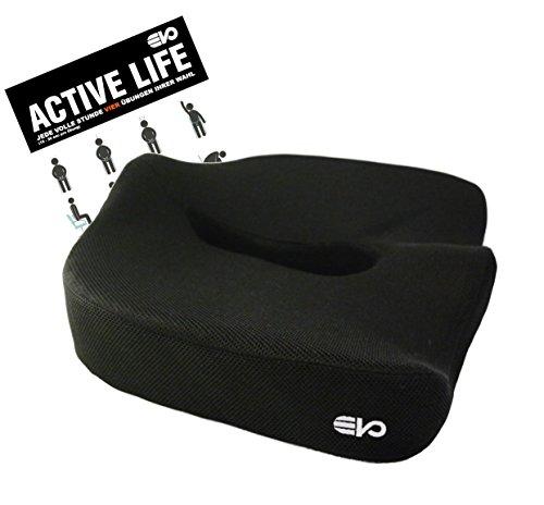 Ergonomisches Sitzkissen - Das Original von evo-cative - Unterstützt eine gesunde und aufrechte Haltung - Memory-Schaum - inkl. Übungsposter