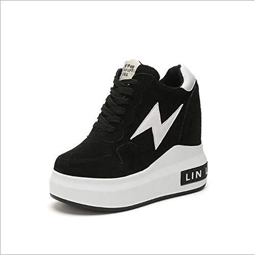 ZHZNVX piatto Sneakers e grigio Scarpe verde da donna tacco Black nero Pelle Primavera in nubuck rgrvBqx