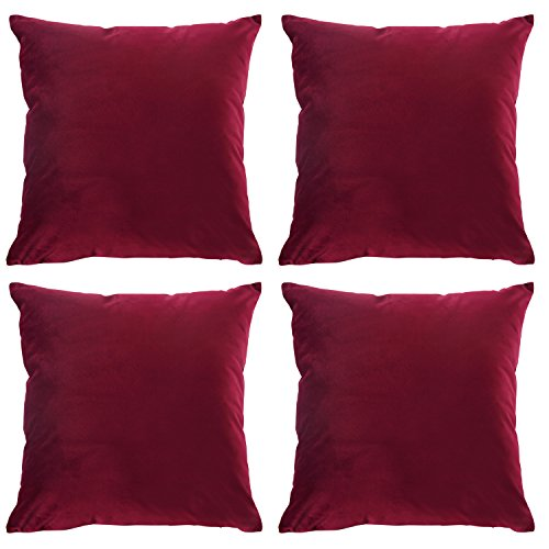 Deconovo Home Decorative Luxurious Velvet Throw Pillowcase Super Soft Cushion Covers for Sofa 18 x 18 Inch Wine Set of 4 ()