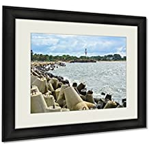 Ashley Framed Prints, Pier With Wave Breakers A Lighthouse And An Old Fort, Wall Art Decor Giclee Photo Print In Black Wood Frame, Ready to hang, 24x30 Art, AG6253237