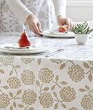 Dandi 10 Seater Oilcloth Tablecloth, Hydrangea Oatmeal