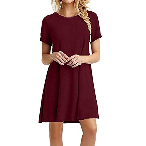 Seaintheson Women Dresses, Womens Casual Solid Plain Simple T-Shirt Loose Dress Fashion Short Sleeve O Neck Swing Dress Wine ()