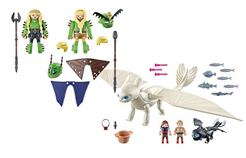 Playmobil Ruffnut and Tuffnut with Flight Suit and Light Fury with Baby Dragon and - Playmobil Light