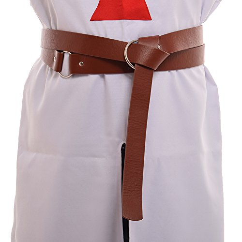 BLESSUME Medieval LARP Reenactment Viking Battle Knight Belt PU Leather Brown (Whole Length:about 230cm/90.5