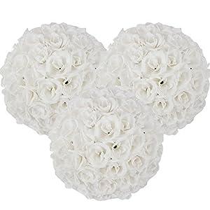 15 Pack Romantic Rose Pomander Flower Balls Rose Bridal for Wedding Bouquets Artificial Flower DIY White 20