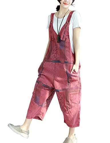 Flygo Womens Loose Baggy Overalls Jumpsuits Rompers Low Crotch Wide Leg 100% Cotton (One Size, Style 13 Red)