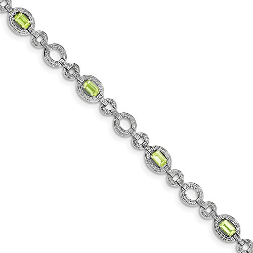 Sterling Silver Diamond & Peridot Oval Link Bracelet by CoutureJewelers